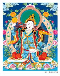 Thangka tibetano tres filas de loto vacío mujer Ai Vector