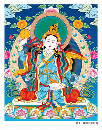 Thangka tibetano três linhas de vetor de Ai feminino vazio de lótus