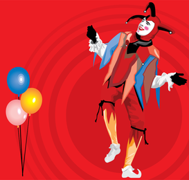 Balloons And Clown Vector