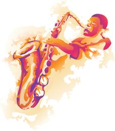 Ehemaliger Saxophon Player Vector