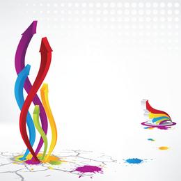 Flecha tridimensional colorido Vector