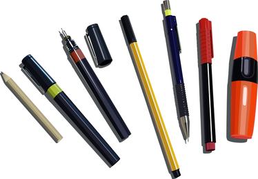 Kugelschreiber, Bleistifte und Marker Free Vector