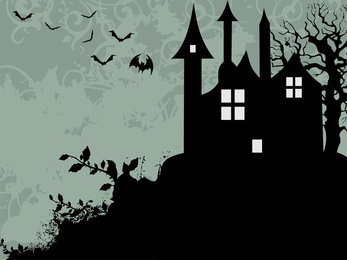 Silhueta de casa assustador preto