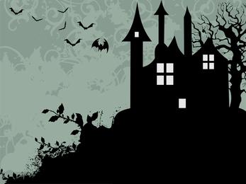 Silueta de casa espeluznante negro