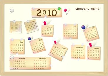 Calendário Ano 2010 Vector Adorável