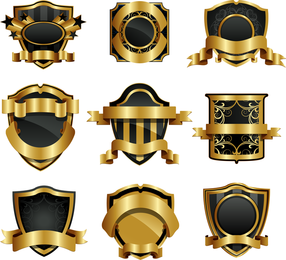 Gold Shield Badge Vector
