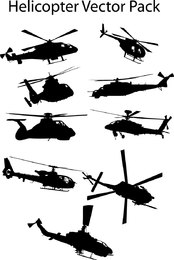Siluetas de helicóptero Vector Pack