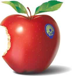 Ilustração 3D de maçã mordida