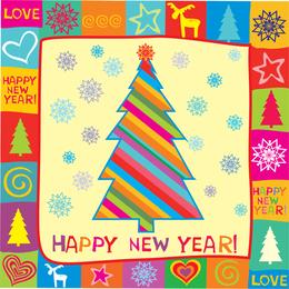 Tarjeta de felicitación feliz año nuevo ilustración vectorial