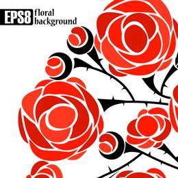 Vector de 5 rosas