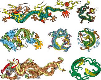 Vector dragão chinês clássico dos dez