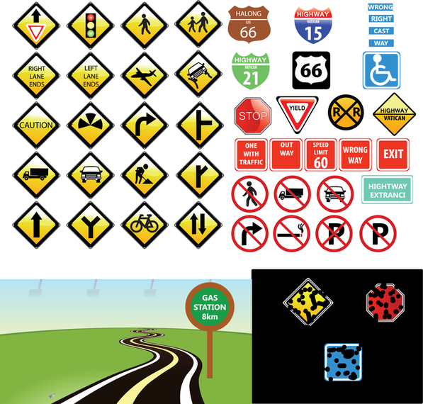Traffic signs icon collection