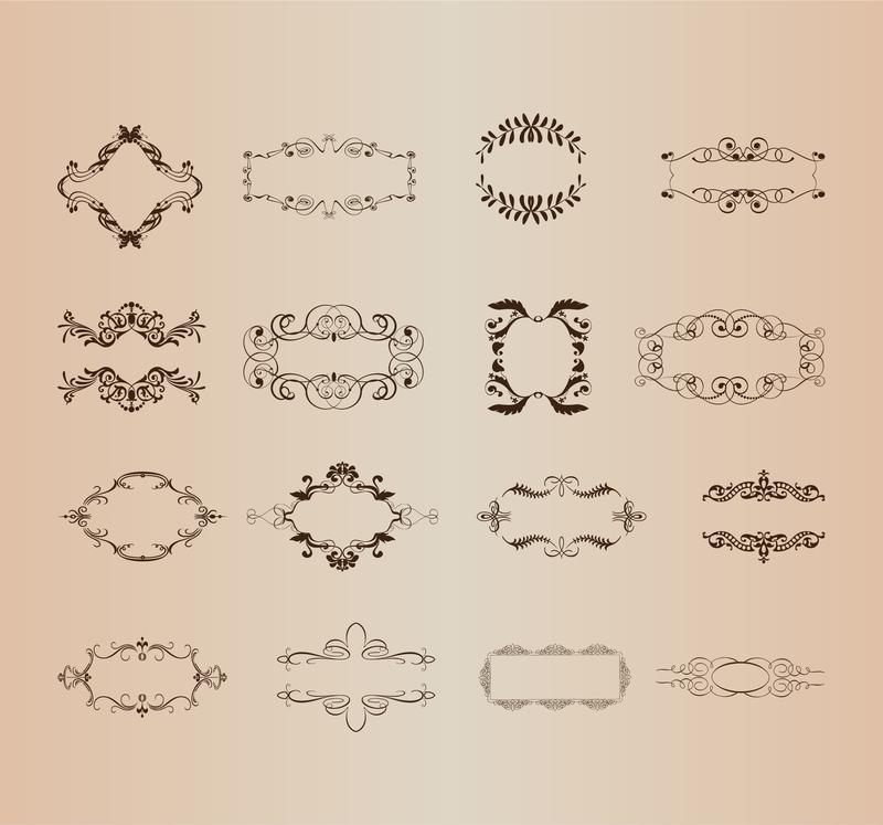 Conjunto de vectores de elementos decorativos del marco for Conjunto de espejos decorativos