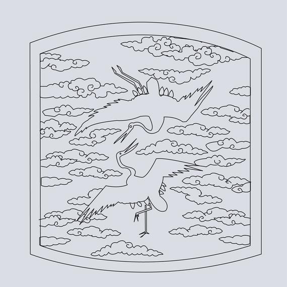 Classical Chinese Auspicious Crane Map Vector