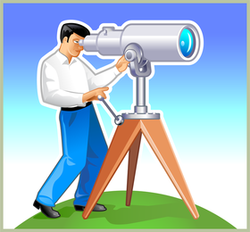 Free Vector Graphic A Man With His Telescope