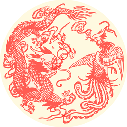 Illustrated red dragon in a circle