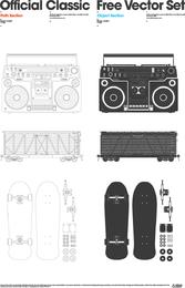 Vector de radio contenedor patineta