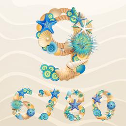 The Marine Theme Font Design 02 Vector