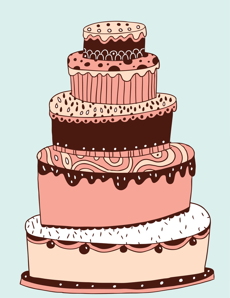 Cake Images In Cartoon : Lovely Multilayered Cake Vector - Vector download