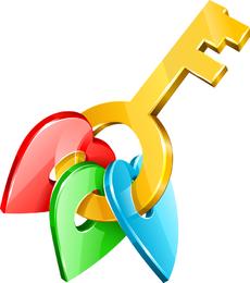 Vector tridimensional del símbolo dominante de oro masculino y femenino