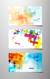 Business card template with colorful crosses