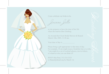 Illustrated bride wedding invitation