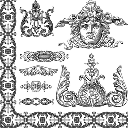 European Retro Lace 04 Vector