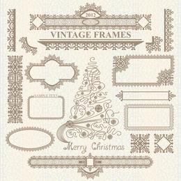 Conjunto de divisor de marco de Navidad vintage