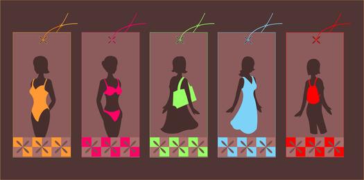 Silhuetas de roupas de meninas de moda