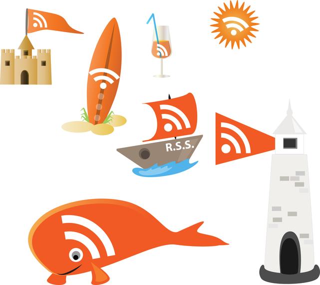 Rss en mar naranja vectores con un toque náutico