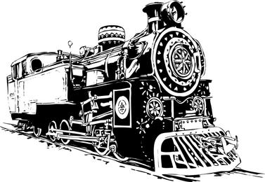 Black And White Locomotive Vector