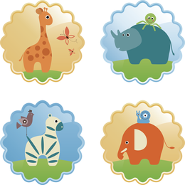 Cute wild animal label set