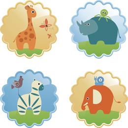 Lindo conjunto de etiquetas de animales salvajes
