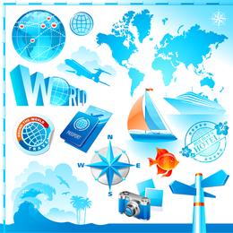Elementos de viaje y turismo de Vector 1