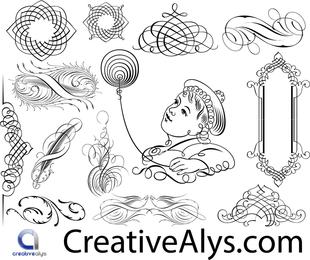 Calligraphic Ornaments and swirls set
