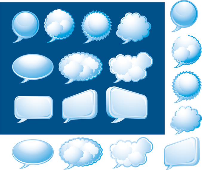 Blue 3D speech bubble set