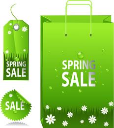 Etiqueta de primavera verde venta etiqueta Vector