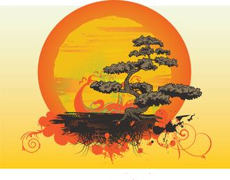 Vector de arbol bonsai
