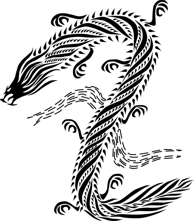 Dragón Estilo Chino Negro Blanco Descargar Vector