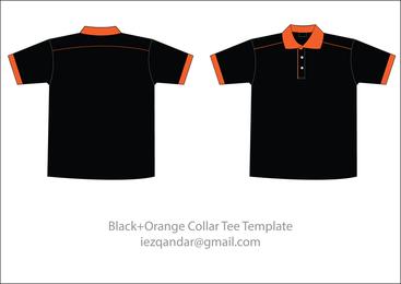 Plantilla de camiseta de cuello naranja negro gratis