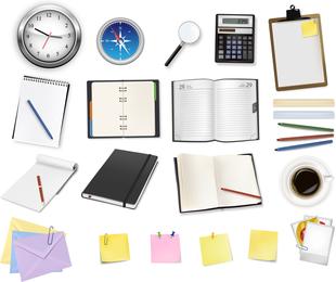 Suministros de oficina y papelería vectorial