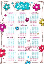 Precioso calendario 2011 vector