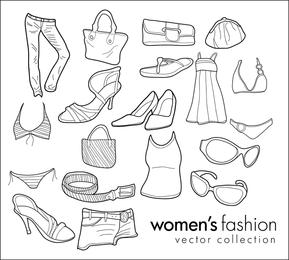 Vector libre Doodles moda de ropa de mujer