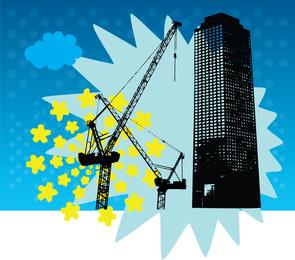 Vetor de construção de arranha-céu