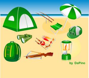 Camping caza y pesca Vector Pack