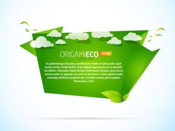 Verde Origami Animales 04 Vector