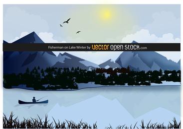 Fisherman On Lake Winter