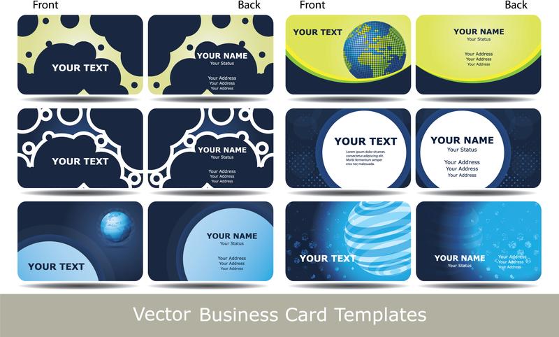 Blue Business Card Template Technology Sense 02 Vector