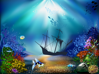 Vetor de magnífico mundo subaquático 01
