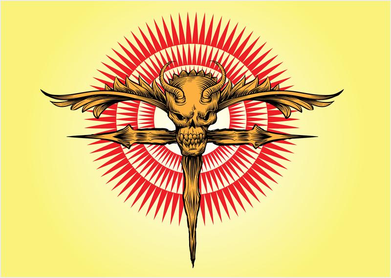 Cráneo Cruz ilustraciones vectoriales